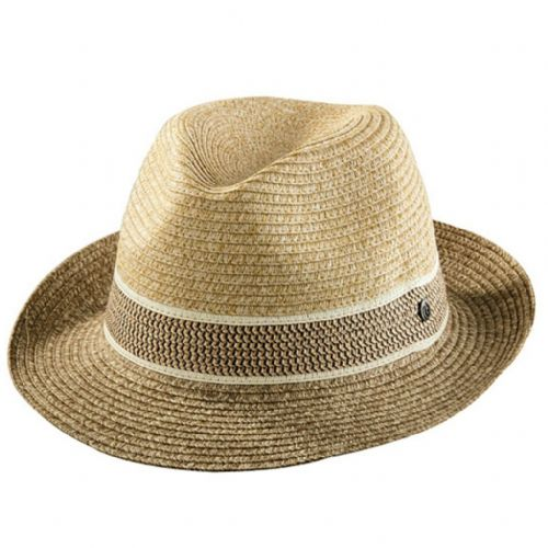 Bugatti Straw Trilby Hat with Aztec Style Trim
